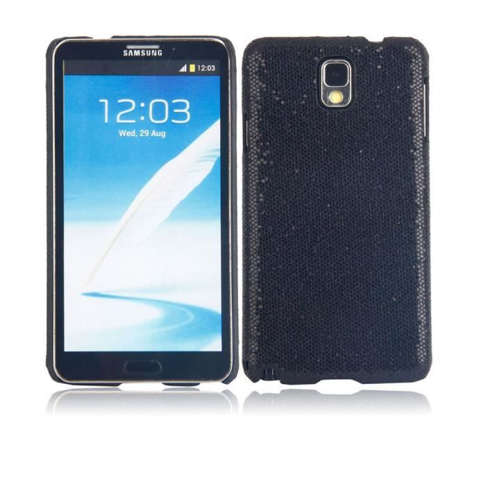 Etui housse coque paillettes galaxy note 3 noir achat for Housse telephone samsung galaxy note 3