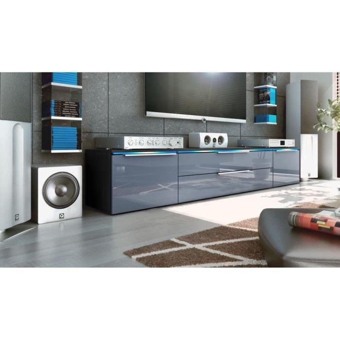 meuble bas tv noir gris 200 cm achat vente meuble tv meuble bas tv noir gris 200 cdiscount. Black Bedroom Furniture Sets. Home Design Ideas