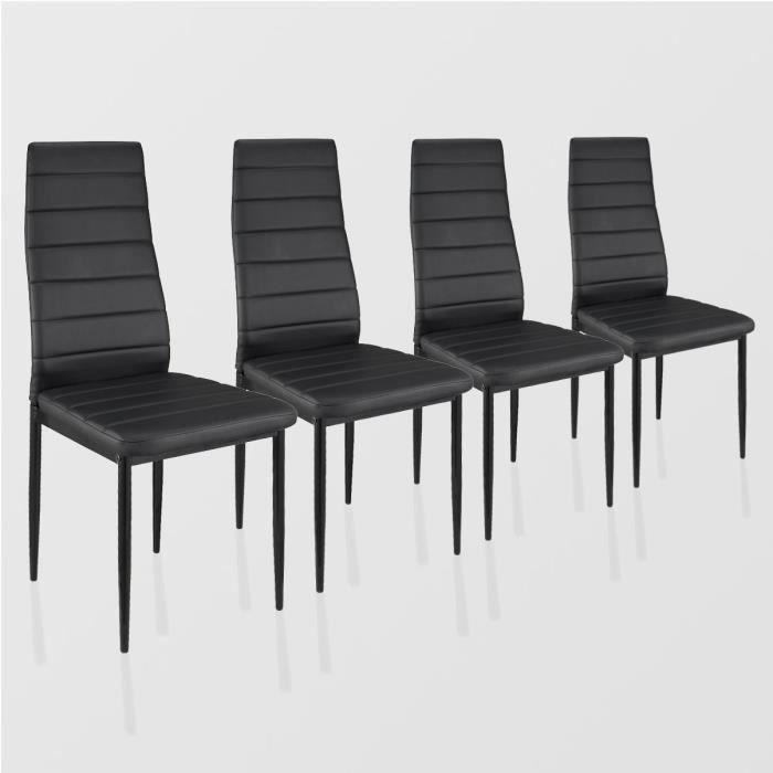 Lot de 4 chaises de salle manger noir achat vente for Chaises de salle a manger but