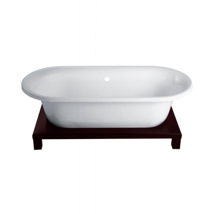 Baignoire ilot r tro avec socle en bois achat vente baignoire kit balne - Baignoire ilot balneo ...