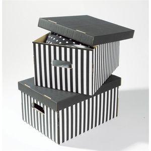SHIRT Lot de 2 boîtes de rangement rayées noir 40x31x21 cm