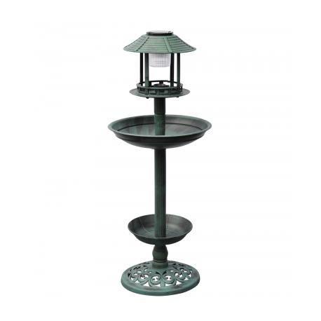 Fontaine bain d 39 oiseaux verte avec lampe solaire achat vente fontaine de jardin fontaine for Lampe solaire jardin brico
