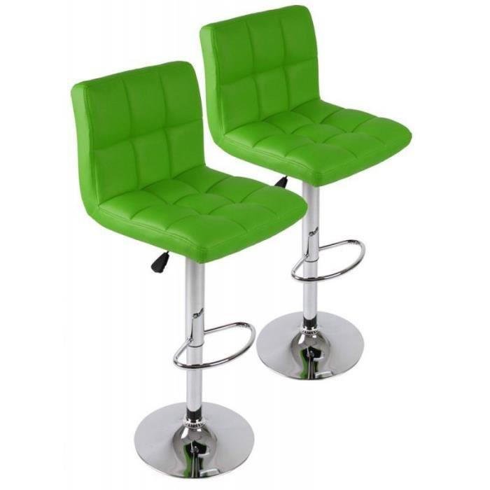 lot de 2 tabourets de bar vert design moderne 1201005. Black Bedroom Furniture Sets. Home Design Ideas