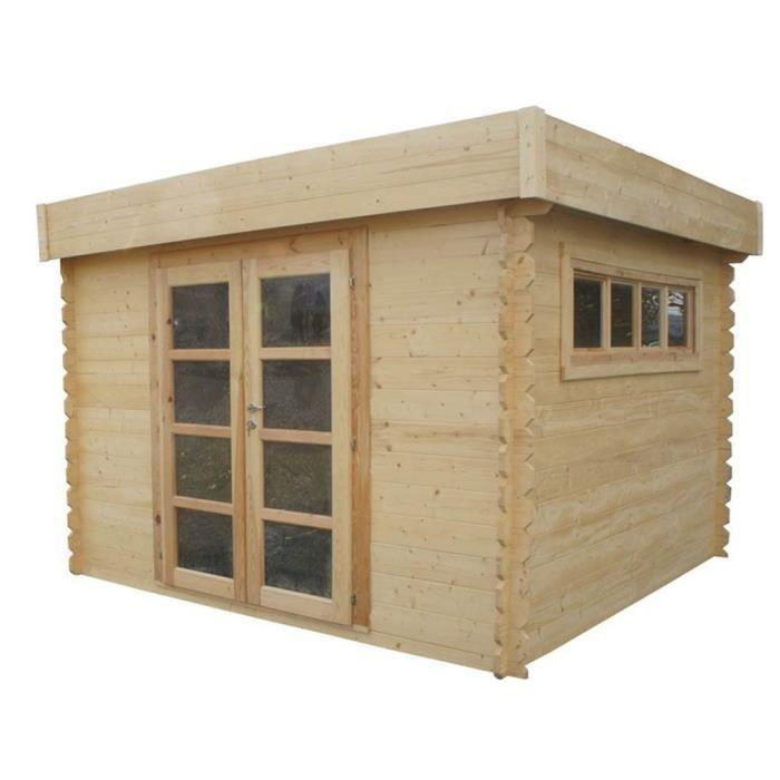 Abri de jardin en bois soleil toit plat translucide de 3 x 3 m 28 mm 305 x 305 x 238 cm for Abri de jardin en bois toit plat