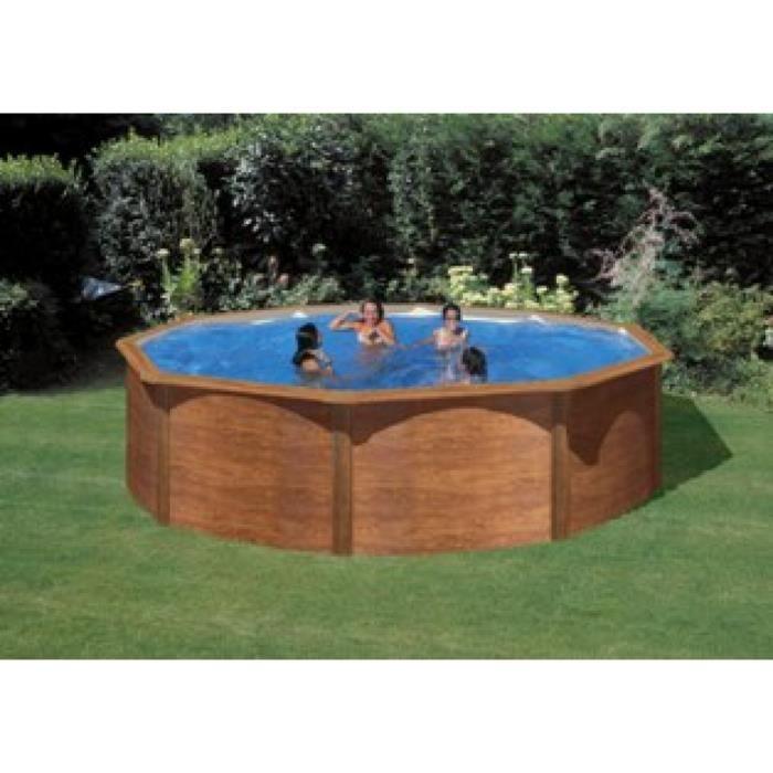 Piscine ronde hors sol d cor bois avec for Liner piscine 4 60 1 20