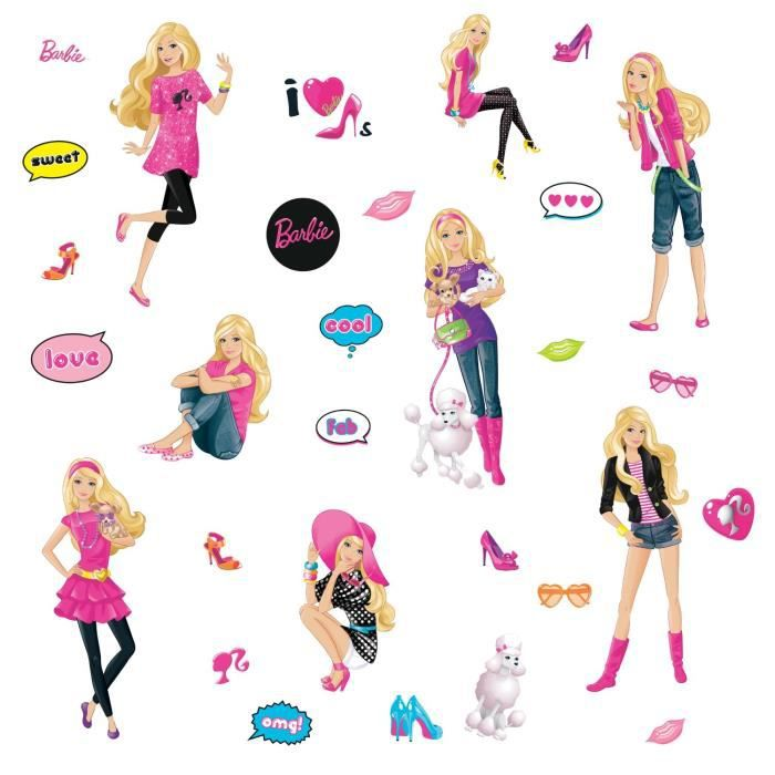 stickers muraux fille barbie 4 planches achat vente stickers cdiscount. Black Bedroom Furniture Sets. Home Design Ideas