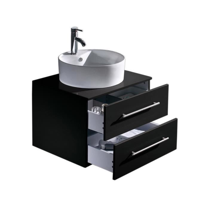 Casa perge noir satin achat vente meuble vasque for Meuble sous lavabo noir