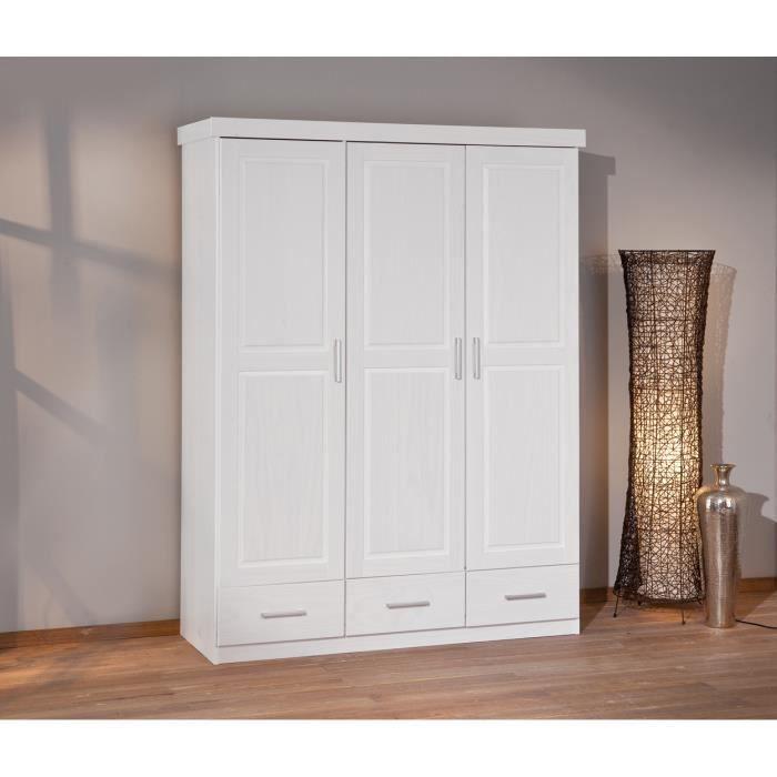 armoire 3 portes et 3 tiroir coloris blanc en bois. Black Bedroom Furniture Sets. Home Design Ideas