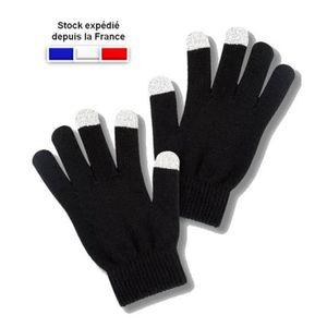 GANT TACTILE SMARTPHONE Paire de gants tactiles noirs pour écran smartphon