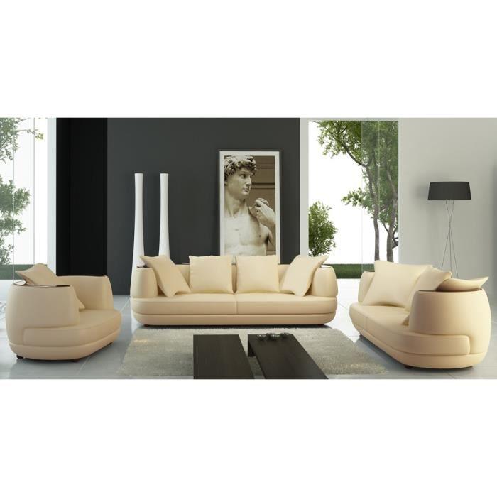 Ensemble canap 3 2 1 places en cuir beige ryga achat vente canap sofa - Ensemble canape cuir ...
