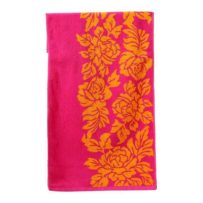serviette de bain motif fleur achat vente serviette de. Black Bedroom Furniture Sets. Home Design Ideas