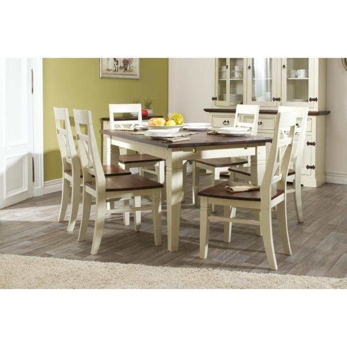 Table 140x90 avec rallonges et 6 chaises gladis achat for Table 140 x 90 avec rallonge