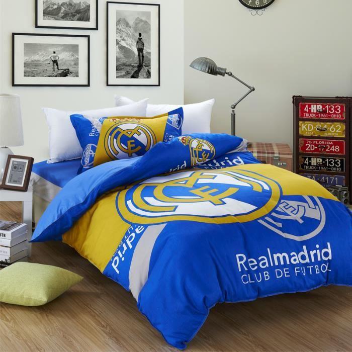 parure de lit pour 2 personnes football real madrid club de f tbol 200 230cm 4 pieces achat. Black Bedroom Furniture Sets. Home Design Ideas