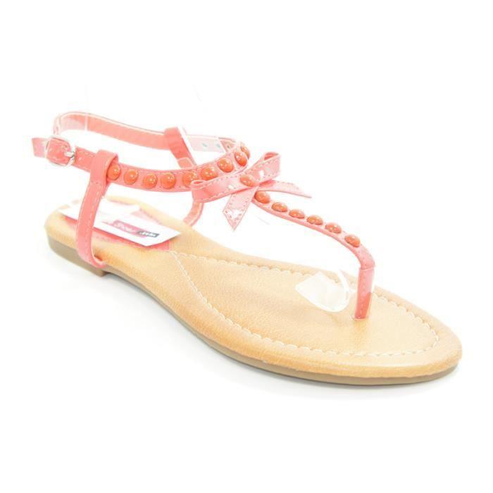 sandale clout e avec un noeud co corail achat vente. Black Bedroom Furniture Sets. Home Design Ideas