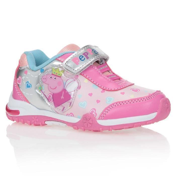 peppa pig baskets chaussures lumi re enfant fille rose et gris achat vente basket les. Black Bedroom Furniture Sets. Home Design Ideas