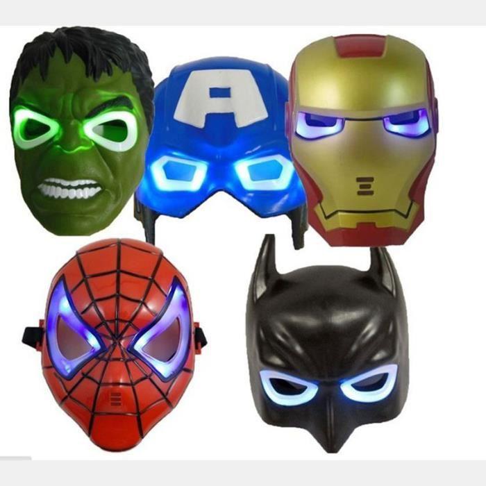 5pcs lot led lumineux masque d 39 clairage captain america spiderman hulk iron man batman - Masque de captain america ...