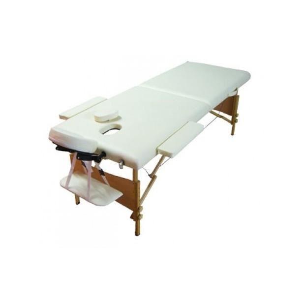 table de massage pliante bois 2 zones blanc cr me achat. Black Bedroom Furniture Sets. Home Design Ideas