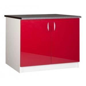 Meuble bas rouge cuisine avec plan de travail achat for Meuble cuisine hauteur 100 cm