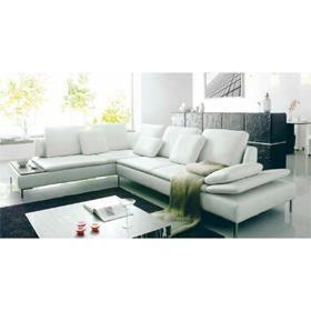 Canap d 39 angle design cuir blanc majestic achat vente for Canape paiement en plusieurs fois