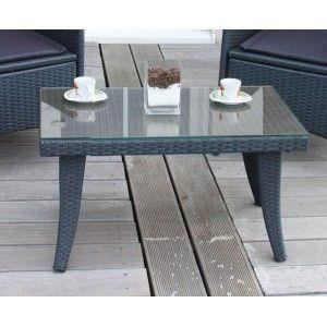 Table De Jardin Hular 75x44x40cm Plastique Verre Anthracite Achat Vente Table De Jardin