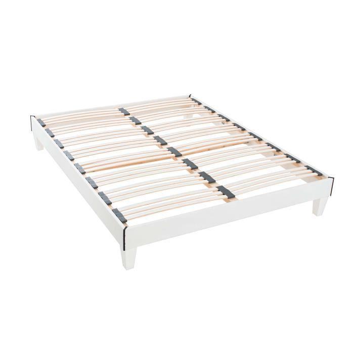 sommier en kit blanc 2x90x200cm achat vente sommier cdiscount. Black Bedroom Furniture Sets. Home Design Ideas
