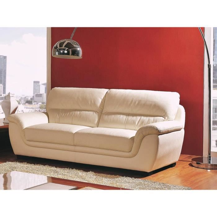 Canap cuir prestige 3 places beige kalmia achat vente canap sofa divan cadeaux de - Canape cuir beige 3 places ...