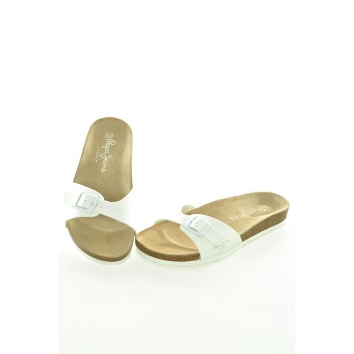 tongs mules femme pepe jeans blanc blanc achat vente tong cdiscount. Black Bedroom Furniture Sets. Home Design Ideas