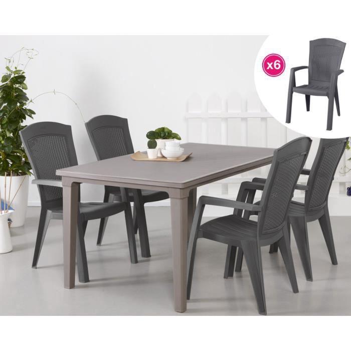 salon de jardin table cappuccino 6 fauteuils graphite achat vente salon de jardin salon. Black Bedroom Furniture Sets. Home Design Ideas