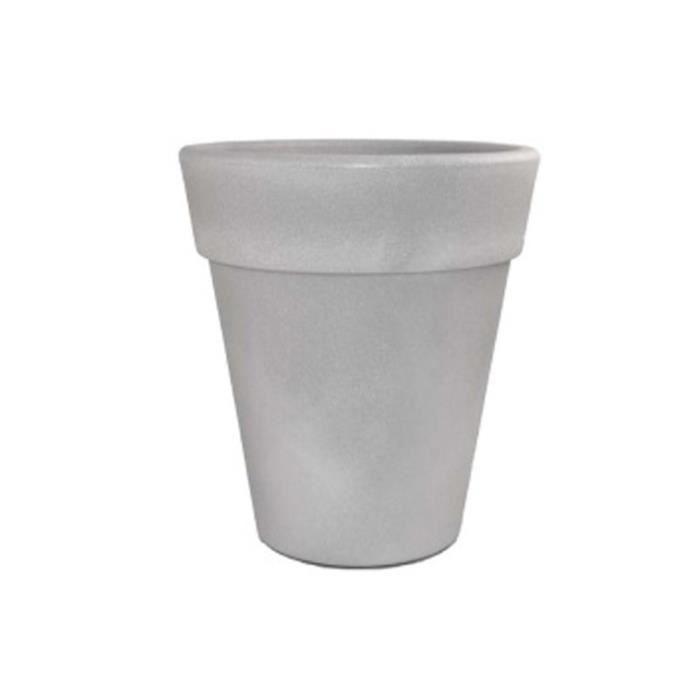 Pot pour fleurs omega gris ciment 45 cm achat for Pot jardin gris