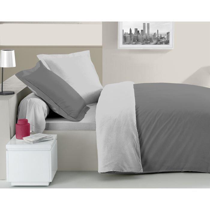 casatxu parure housse 200x200cm 2 taies gris fon achat vente housse de couette cdiscount. Black Bedroom Furniture Sets. Home Design Ideas