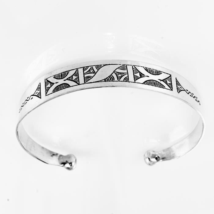 bracelet ethnique homme en argent rigide mihotepit achat vente bracelet gourmette bracelet. Black Bedroom Furniture Sets. Home Design Ideas