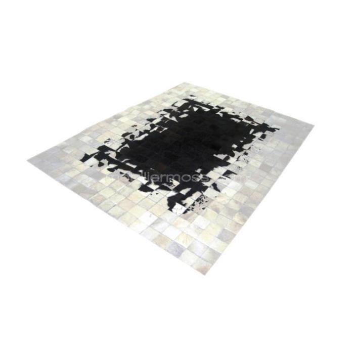 Peau de vache jelly patchwork centre noir ext rieur blanc - Tapis peau de vache maison du monde ...