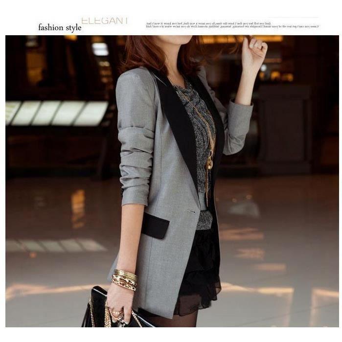 mode blazer vestes femmes costumes grisatre achat. Black Bedroom Furniture Sets. Home Design Ideas