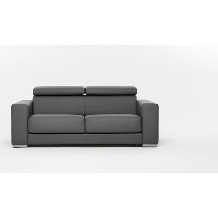 canap convertible lit riga simili cuir gris clair achat vente canap sofa divan simili. Black Bedroom Furniture Sets. Home Design Ideas