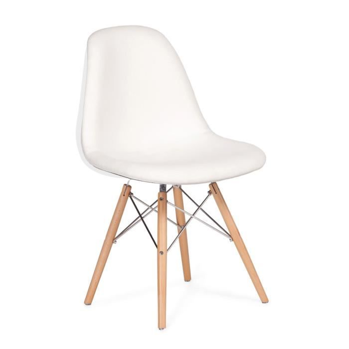 Chaise wooden blanche tapissee blanc unique mesures 54 for Soldes chaises blanches