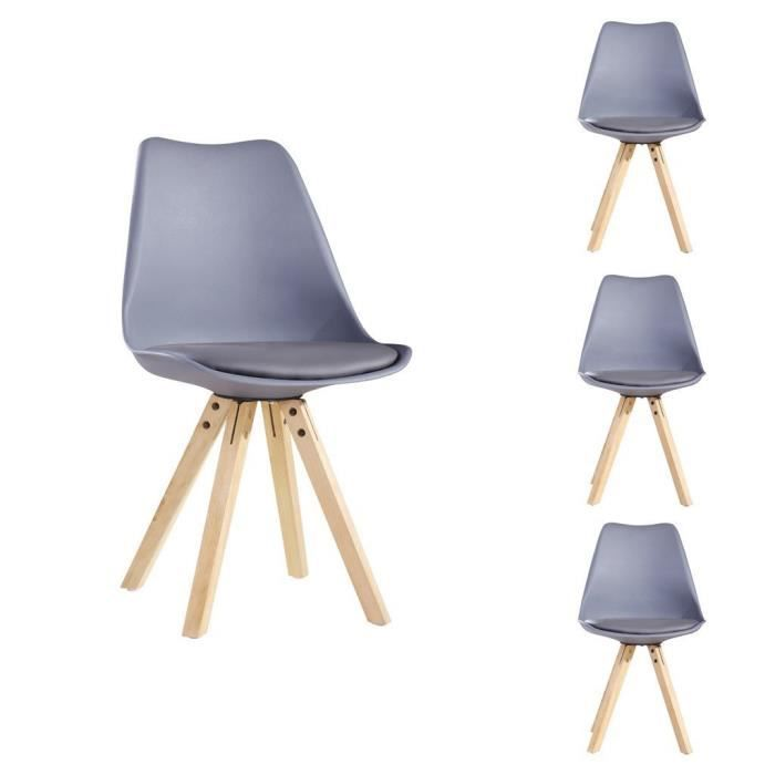 lot de 4 chaises design style scandinave avec pieds bois naturel et assise en plastique. Black Bedroom Furniture Sets. Home Design Ideas