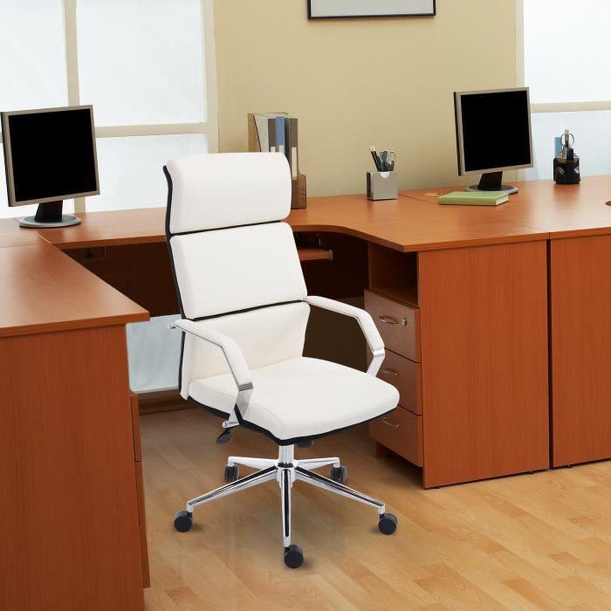 chaise fauteuil si ge de bureau pivotant ergonomique pu 75l x 63l x 117 124hcm blanc neuf 34wt. Black Bedroom Furniture Sets. Home Design Ideas