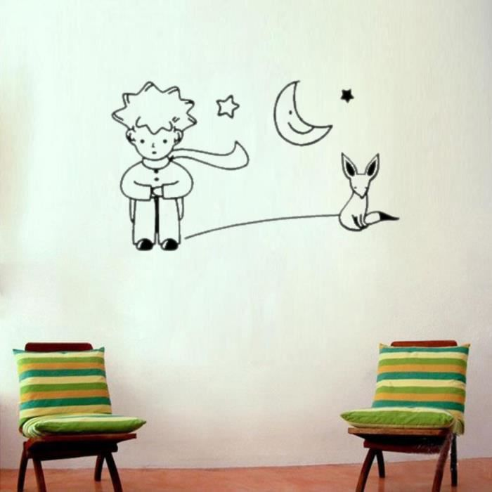 le petit prince fox moon star d cor mural art sticker adh sifs muraux decoration interieuration. Black Bedroom Furniture Sets. Home Design Ideas