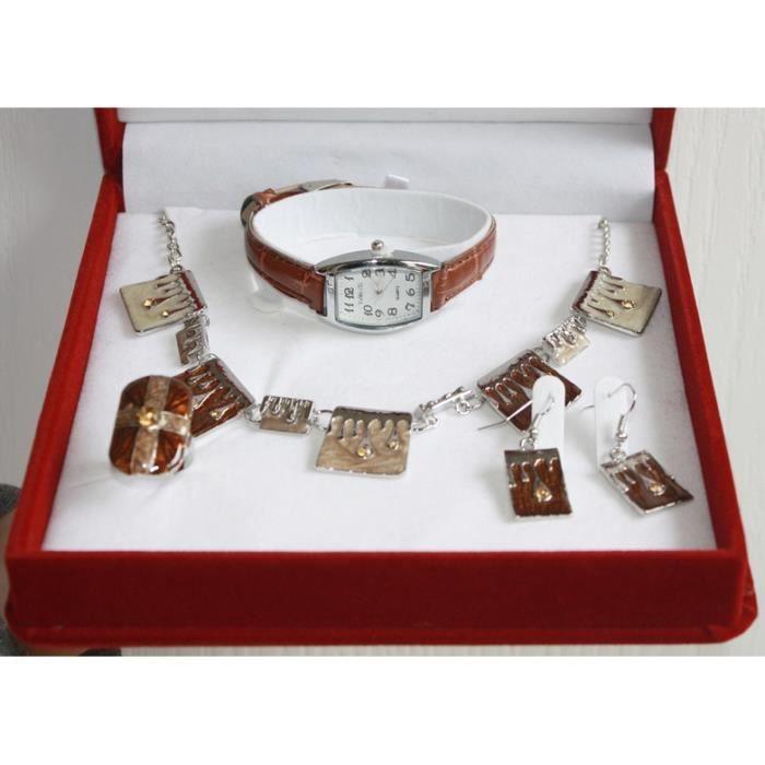 coffret cadeau parure bijoux montre femme achat vente parure coffret cadeau parure bijou au. Black Bedroom Furniture Sets. Home Design Ideas