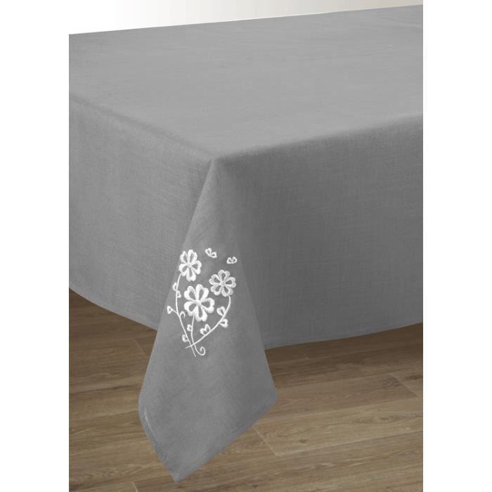 nappe grise aspect lin brod e rectangulaire 150 x 250 cm entretien facile fleur blanc achat. Black Bedroom Furniture Sets. Home Design Ideas