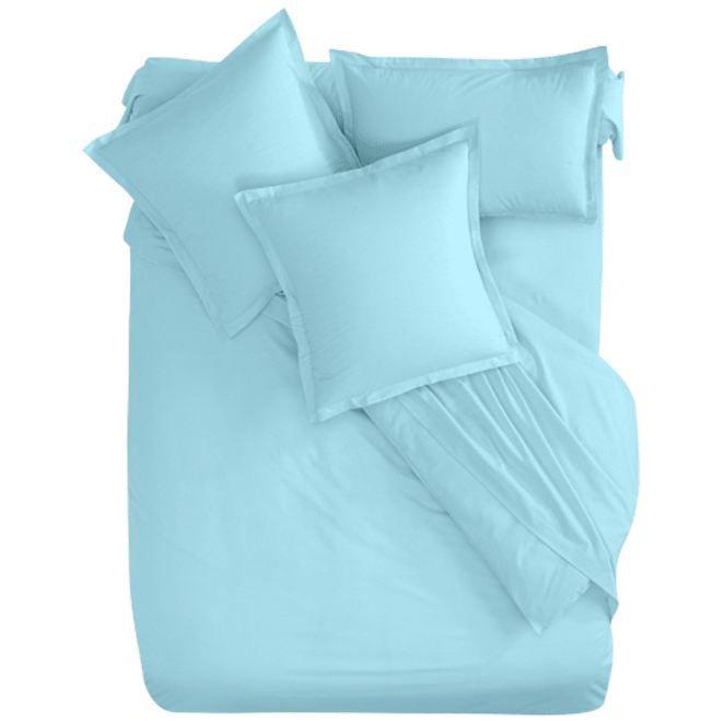 parure de lit coton bio turquoise 160 x 200 cm achat vente parure de lit cdiscount. Black Bedroom Furniture Sets. Home Design Ideas