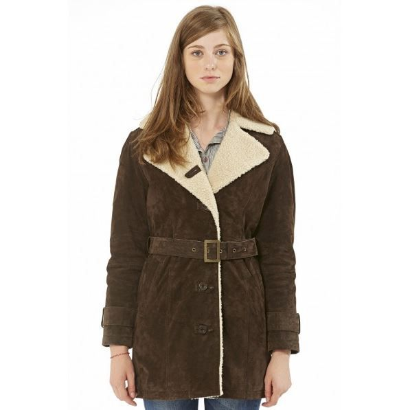 manteau en cuir femme finitions marron achat vente. Black Bedroom Furniture Sets. Home Design Ideas