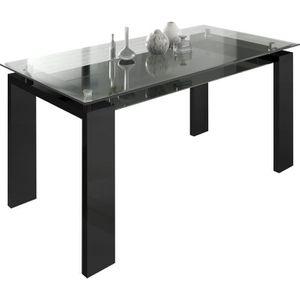 table sejour en verre avec pied noir laque achat vente. Black Bedroom Furniture Sets. Home Design Ideas