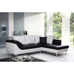 Canapé d'angle elvis mini noir et blanc droit