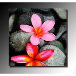 Toile fleurs sur galets 28x28 cm achat vente tableau for Tableau imprime sur verre
