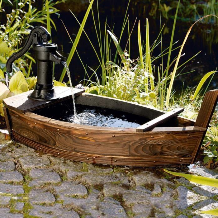 Fontaine de jardin en forme de barque ne n cessite pas d 39 arriv e d 39 eau pompe 5 w bois et fer for Bassin de jardin d occasion
