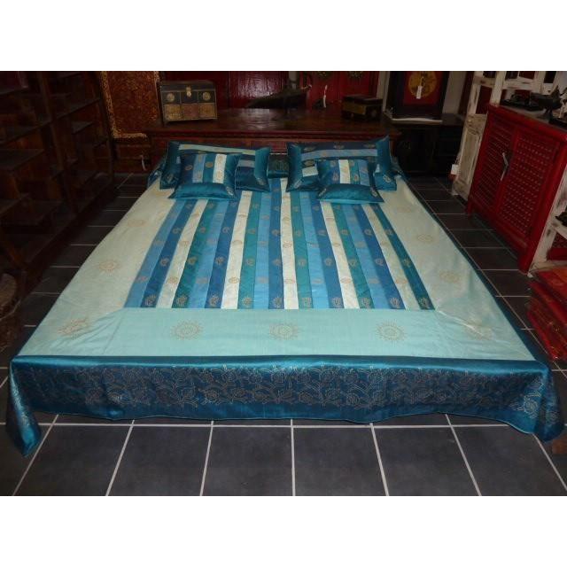 parure de lit bleu turquoise achat vente parure de lit bleu turquoise pas cher cdiscount. Black Bedroom Furniture Sets. Home Design Ideas