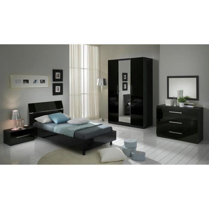 Chambre coucher mod le gloria noire laquee armoire 3p et for Modele chambre a coucher