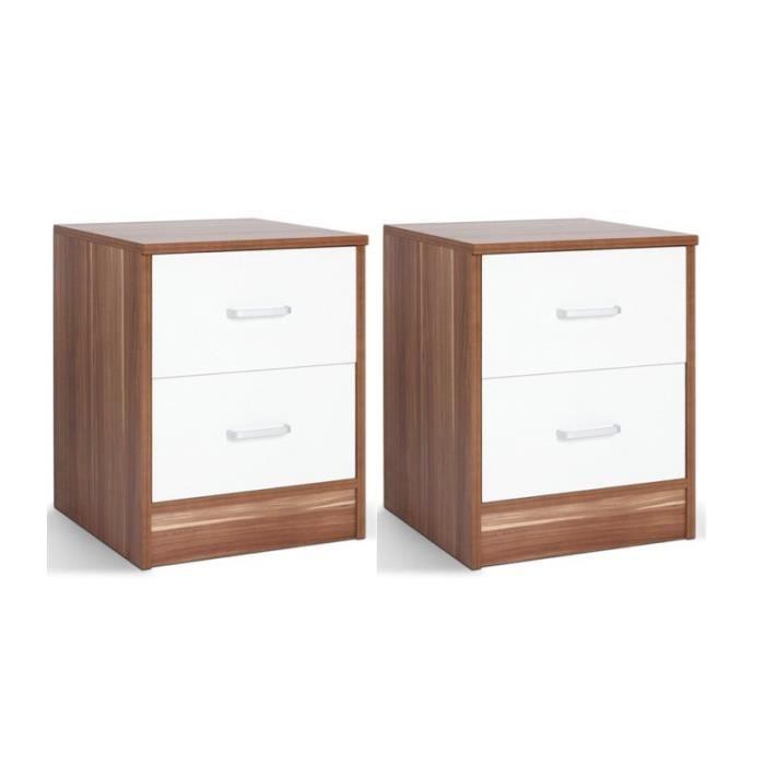 2 tables de nuit chevet avec tiroir armoire meuble chambre for Chevet mural avec tiroir