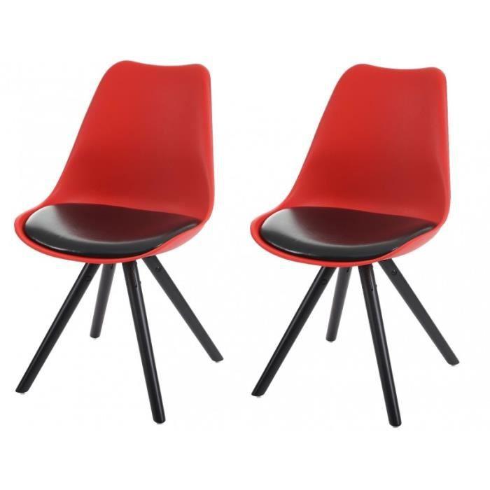 Lot de 2 chaises de salle manger r tro pu rouge et noir for Chaise salle a manger retro